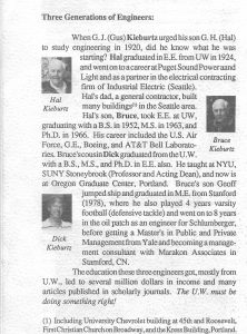 A newspaper clipping about the Kieburtz family in a 1992 UW EE newsletter.