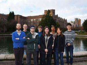 The HuskyBot team from left to right: Professor Noah Smith, Maarten Sap, Ari Holtzman, Professor Mari Ostendorf, Elizabeth Clark, Hao Feng, Professor Yejin Choi and Hao Cheng.