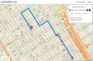 AccessMap provides customized directions for Seattle pedestrians and wheelchair users looking to avoid hills, construction sites and other accessibility barriers. Photo Credit: University of Washington/Access Map