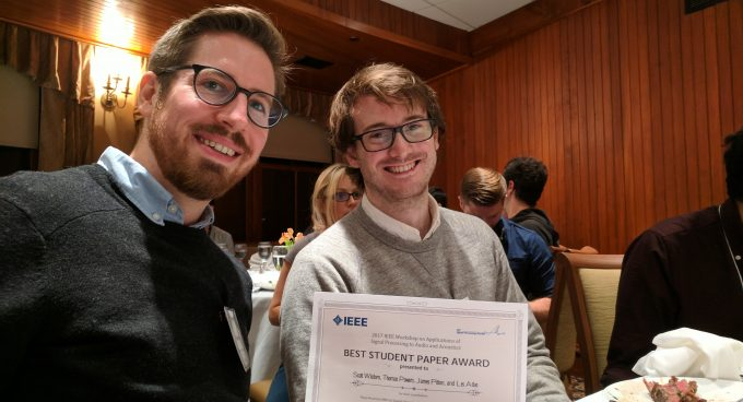 Two UW EE graduate students receive best paper award from leading IEEE signal/audio workshop Banner