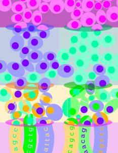 """Artist's rendering of SPLiT-seq """"shuffling."""""""