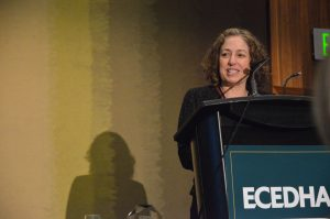 Photo of Eve Riskin accepting 2017 Diversity Award.