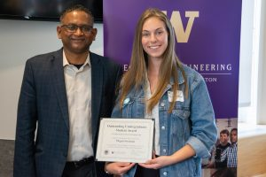 Megan Swanson receives one of the Outstanding Undergraduate Awards for 2018.