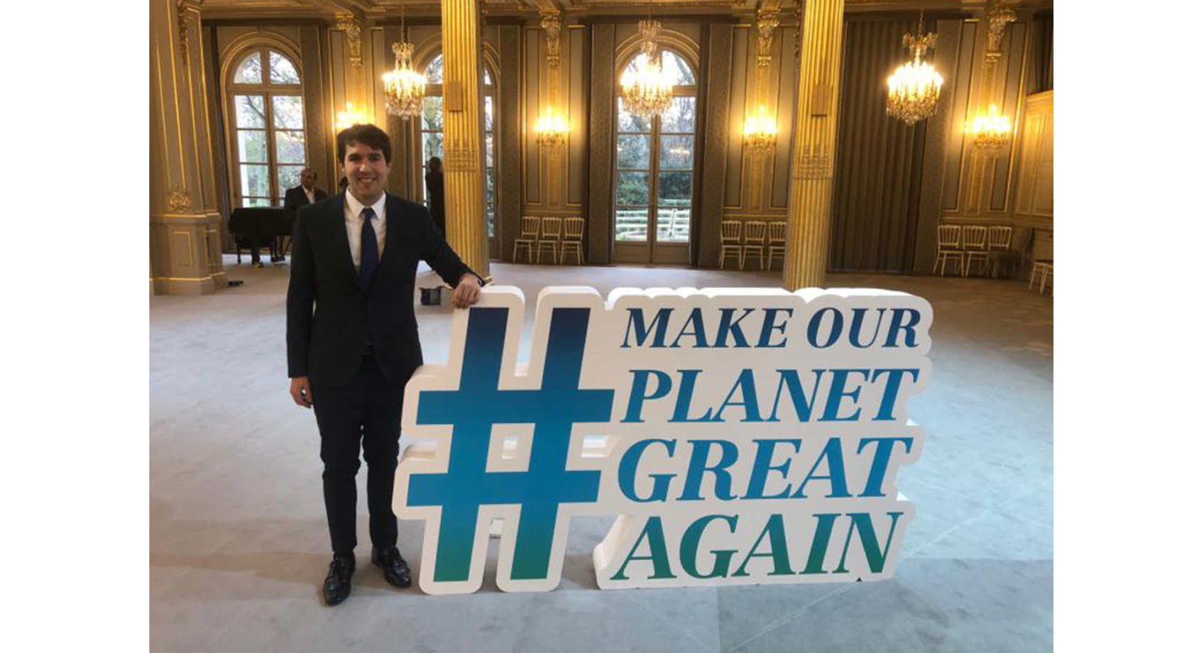 Alum Jesus Contreras Ocaña attends Make Our Planet Great Again event Banner