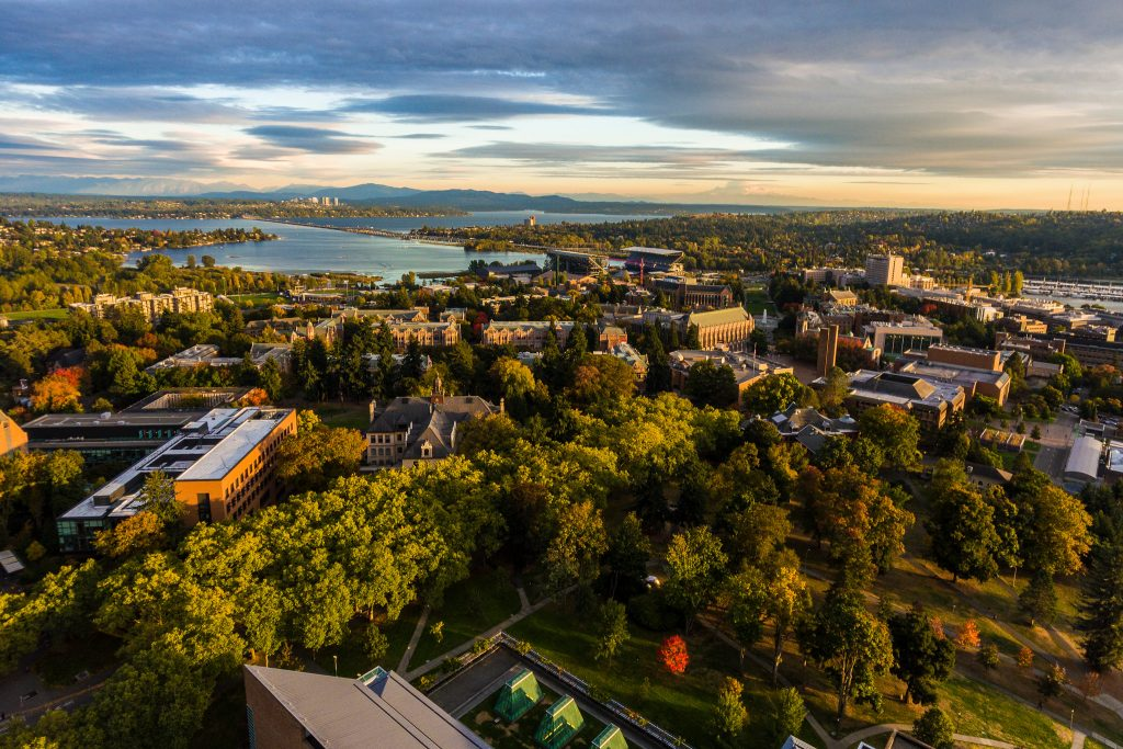 UW Seattle campus aerial shot