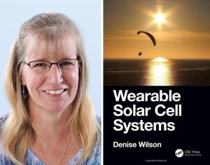 "Denise Wilson headshot next to cover of her book, ""Wearable Solar Cell Systems"""