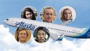 UW ECE student headshots surrounding a photo of an Alaska Airlines plane