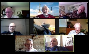 A Zoom screenshot showing several people in an online meeting