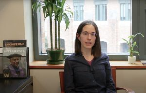 Laura Arjona sitting in an office