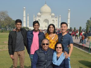 The Moorthy family in front of the Taj Mahal, India