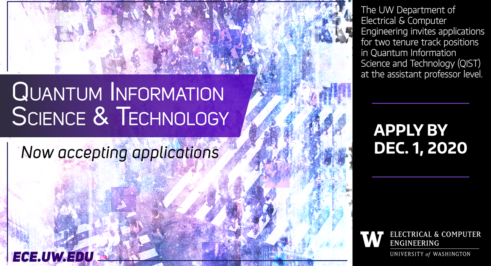 UW ECE seeks outstanding faculty candidates in quantum information science & technology Banner