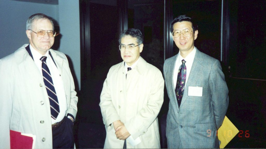 "C-K. Chou with his two mentors and ""heroes,"" Dr. Bill Guy and UW ECE Professor Emeritus Akira Ishimaru, at Dr. Guy's retirement party in 1991, which was organized by Chou. Left to right: Guy, Ishimaru and Chou."