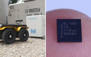 At left, a mobile robot approaches a WiBotic wireless charger. At right, a photo of the tiny Jeeva Parsair chip on the tip of a finger