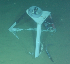 An underwater hydrophone used to detect and record sounds at the bottom of the ocean. Photo: Ocean Observatories Initiative (OOI)