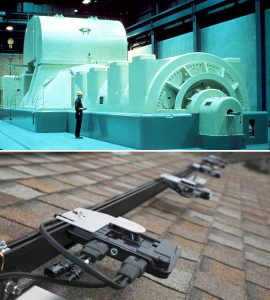 Photo of a large electrical turbine at top. Below that is a photo of a residential rooftop solar power inverter.
